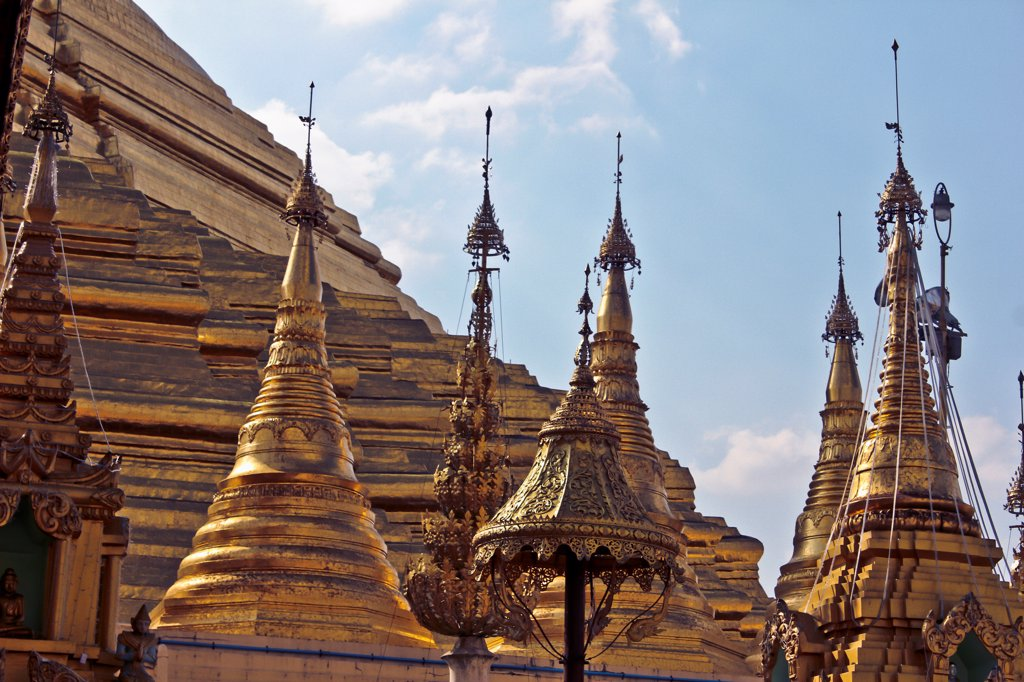 Spires on an ornate temple in Yangon, Burma : Stock Photo