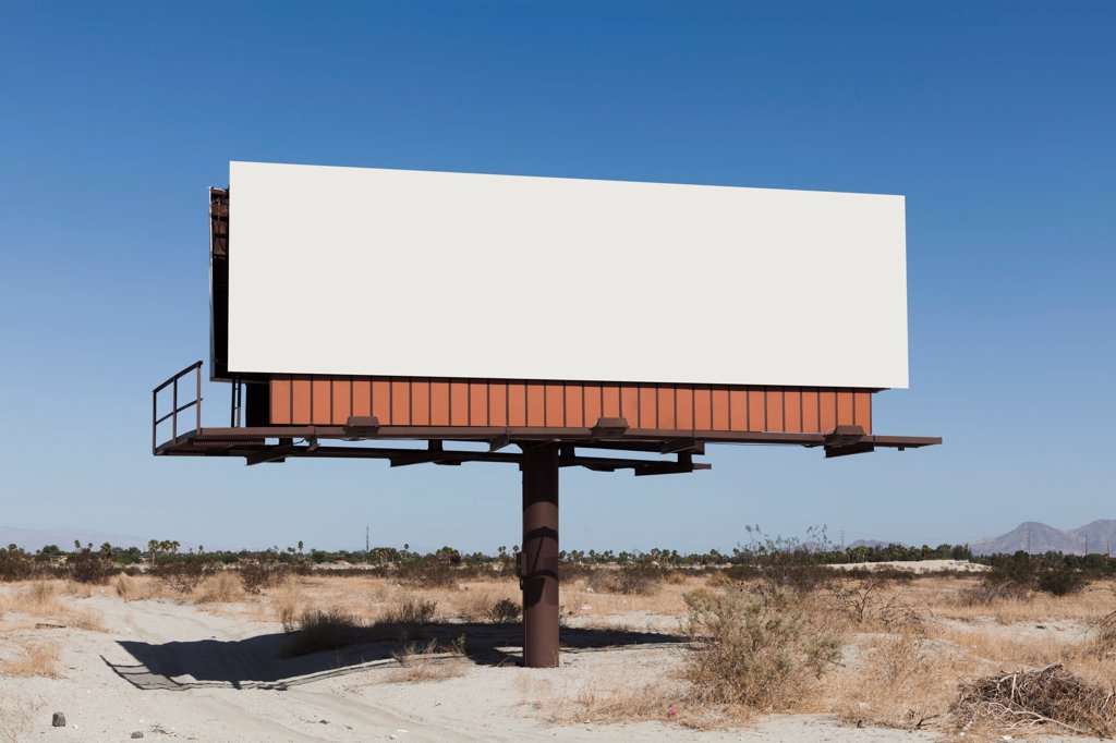 Stock Photo: 1570R-140648 A blank billboard in a desert