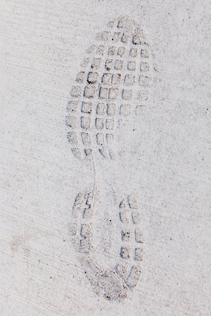 Imprint of a sports shoe in concrete : Stock Photo