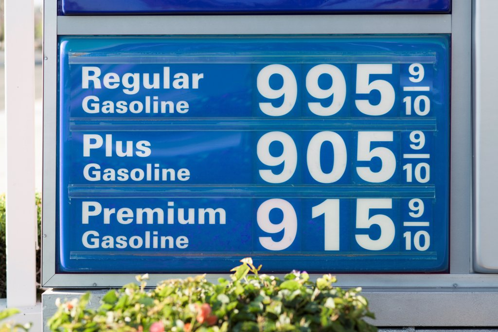 Stock Photo: 1570R-140683 Detail of a sign advertising fuel prices