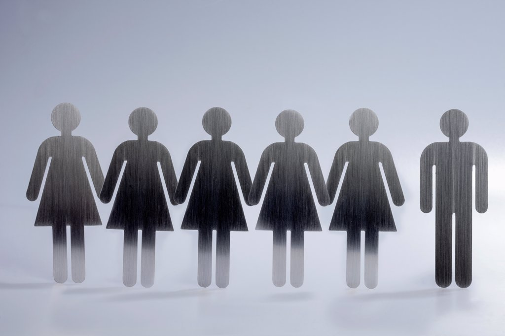 Stock Photo: 1570R-140730 Five female restroom sign figures in a row and one male restroom sign figure
