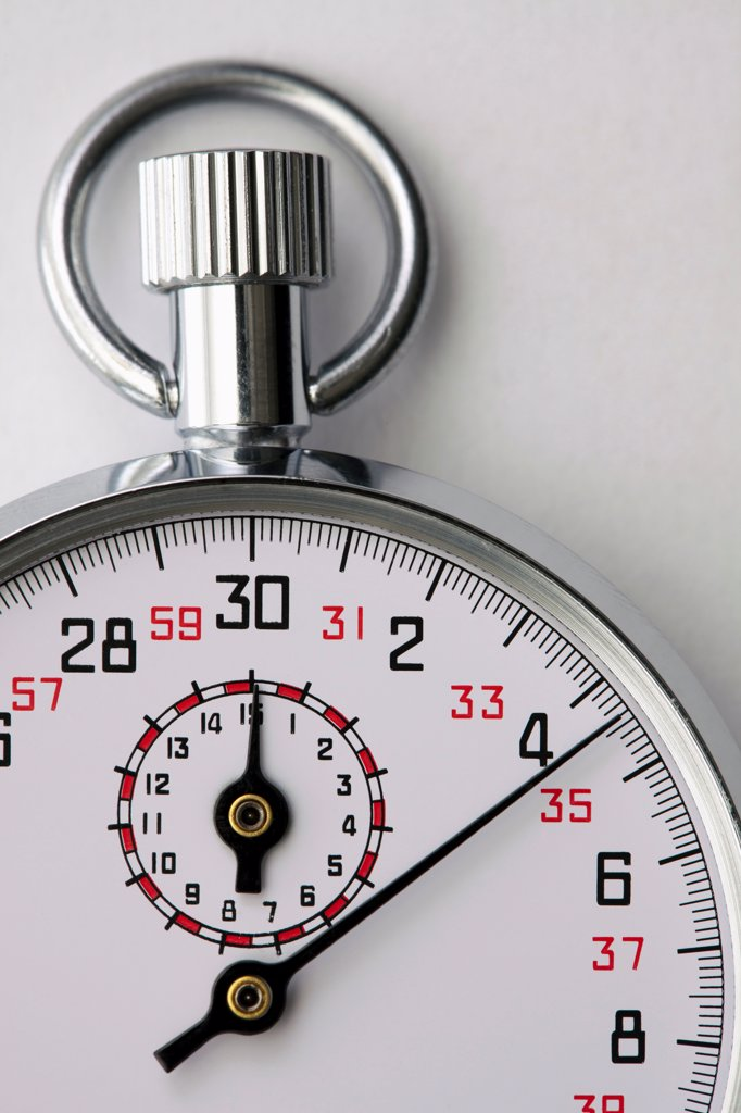 Stock Photo: 1570R-141024 A moving stopwatch, close-up