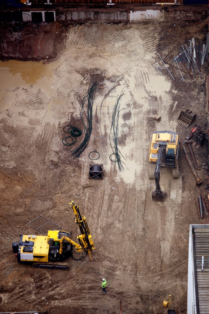 Aerial view of construction site : Stock Photo