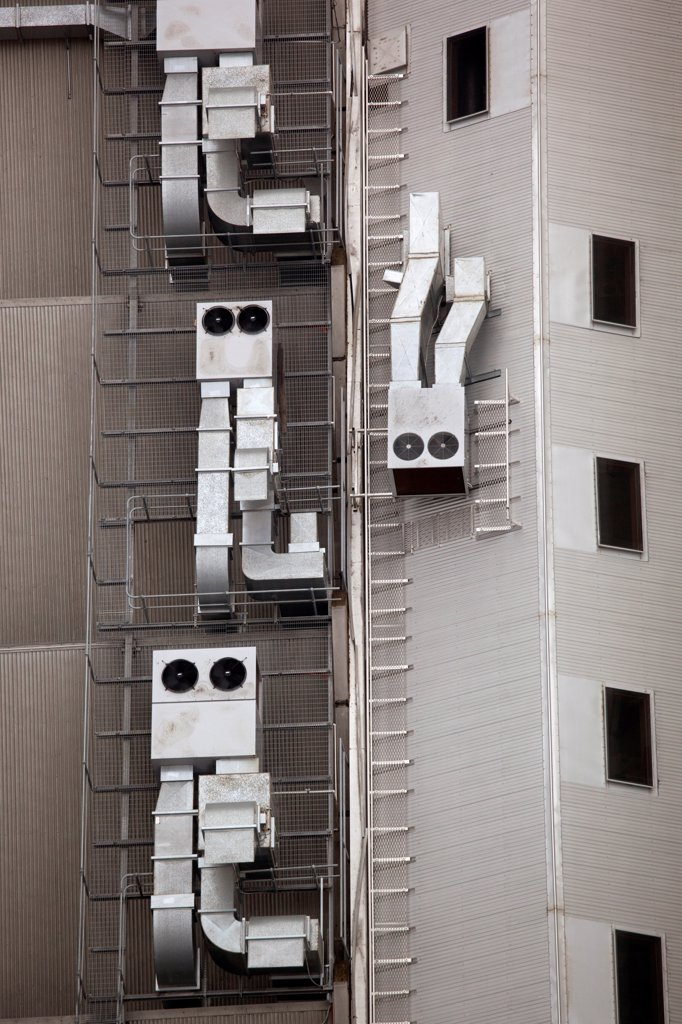 Stock Photo: 1570R-141257 Anthropomorphic air vents on side of building