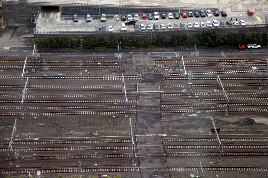 Stock Photo: 1570R-141258 Railway lines and car park