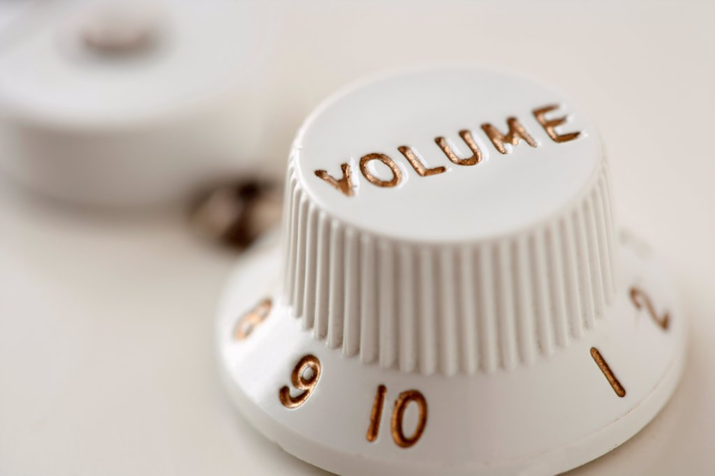 Stock Photo: 1570R-141315 Volume knob from electric guitar