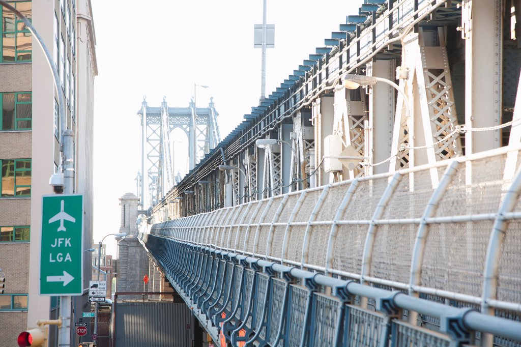 Stock Photo: 1570R-141320 Airport sign beside outer barrier of Manhattan Bridge