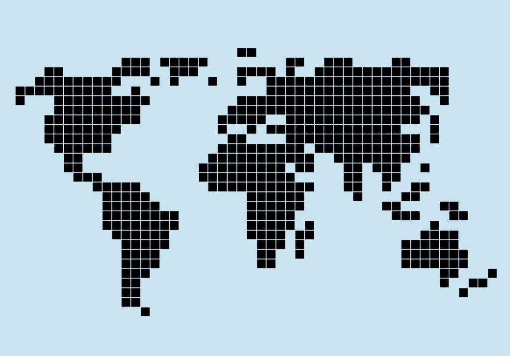 8-bit style world map : Stock Photo