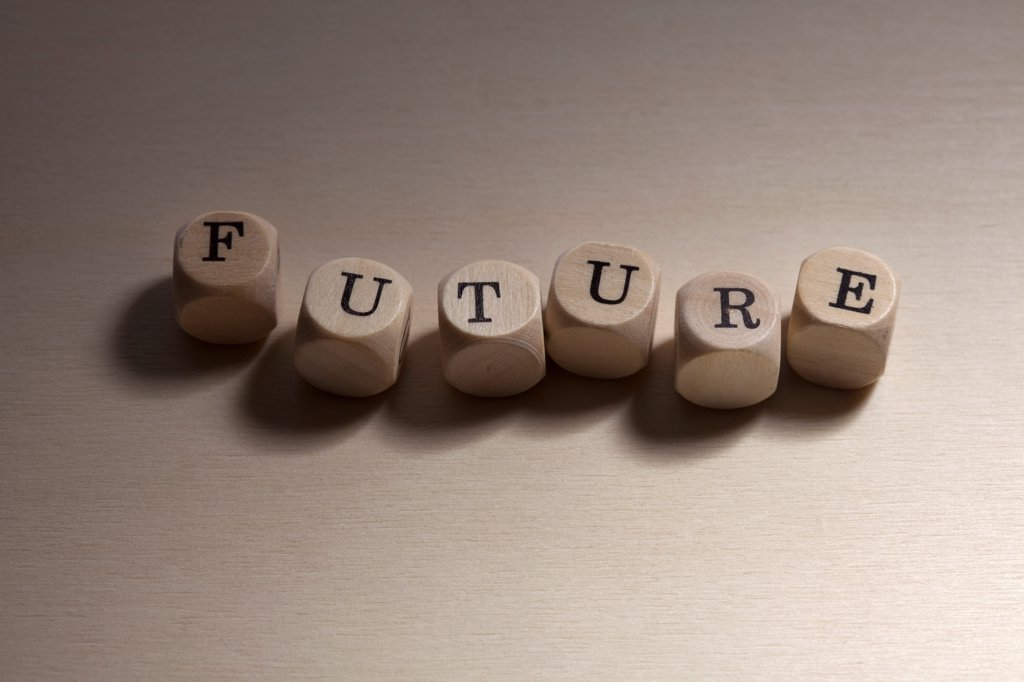 Stock Photo: 1570R-141561 Lettered cubes spelling the word Future