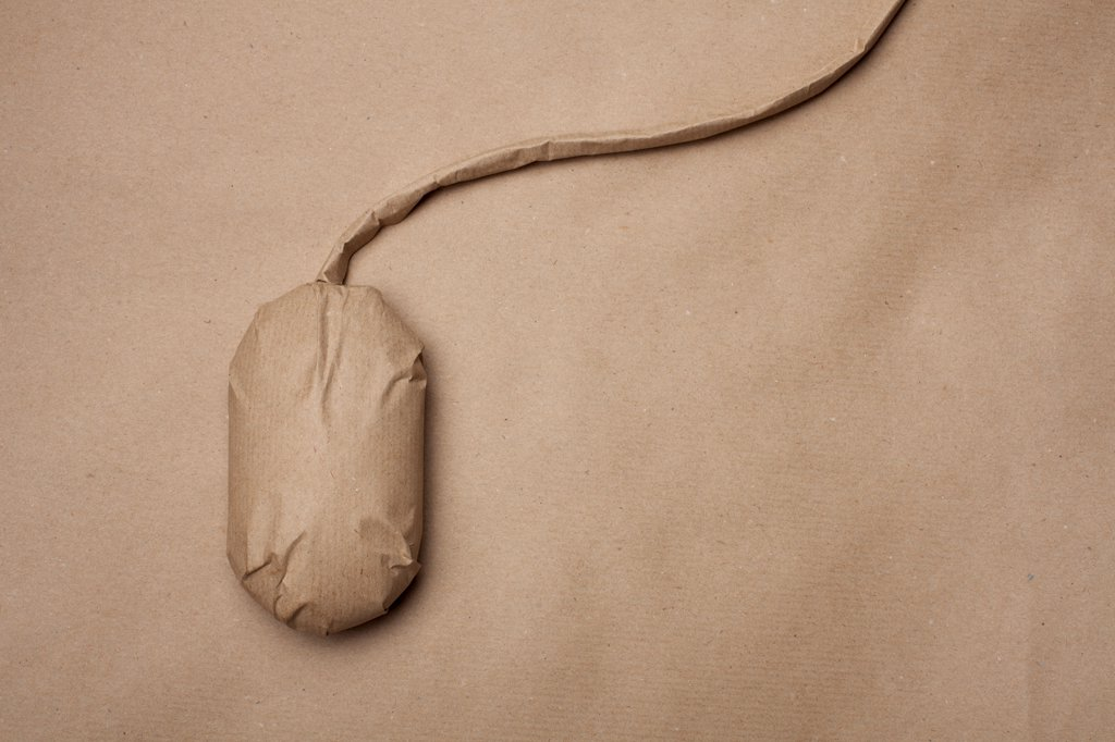 A computer mouse wrapped in brown paper : Stock Photo
