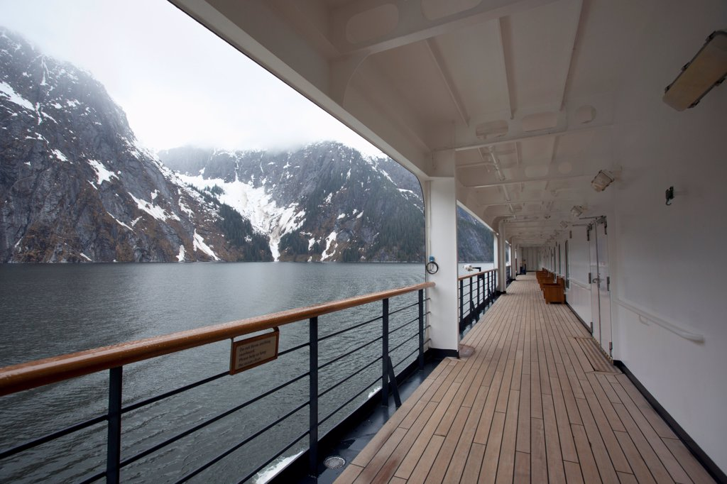 Stock Photo: 1570R-141691 View of Tracy Arm fjord from the walkway of a passenger ship, Alaska