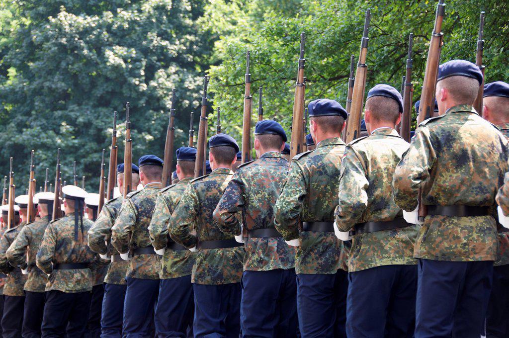 German Bundeswehr parading : Stock Photo