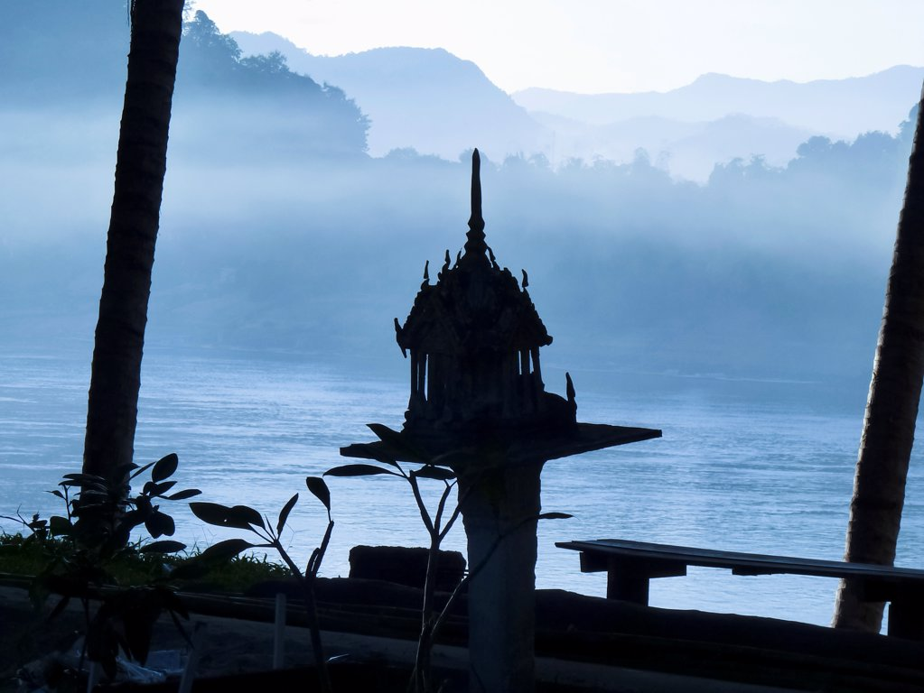 Stock Photo: 1570R-141819 A shrine on the Mekong River, Luang Phabang, Laos