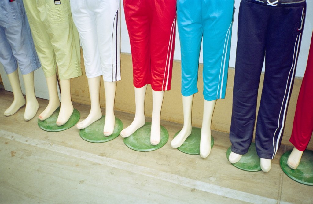 Stock Photo: 1570R-141828 Display of mannequins wearing tracksuit shorts
