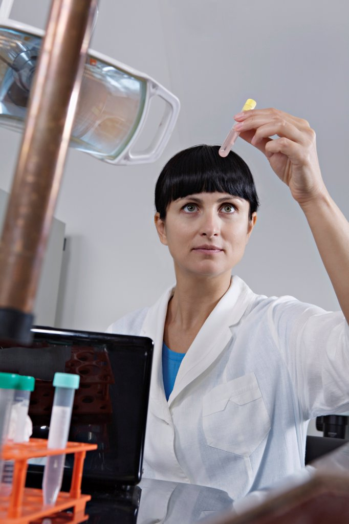 Stock Photo: 1570R-141878 A lab technician examining a test tube full of liquid