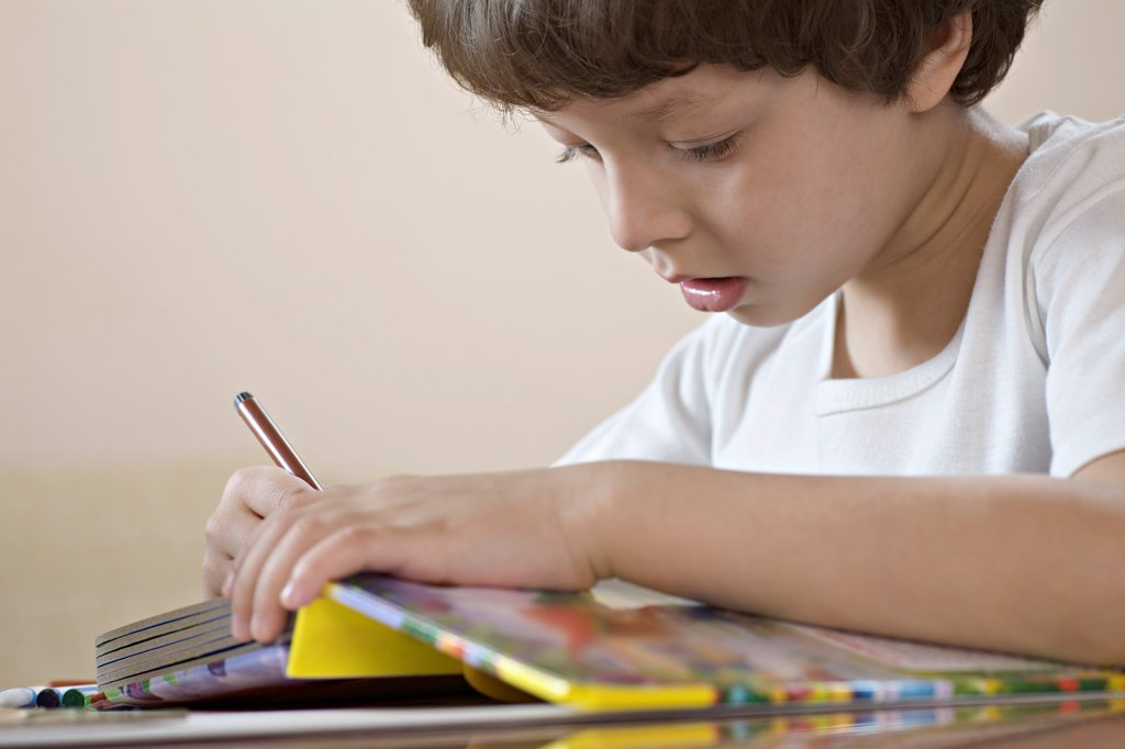 Stock Photo: 1570R-141913 A young boy concentrating on his workbook
