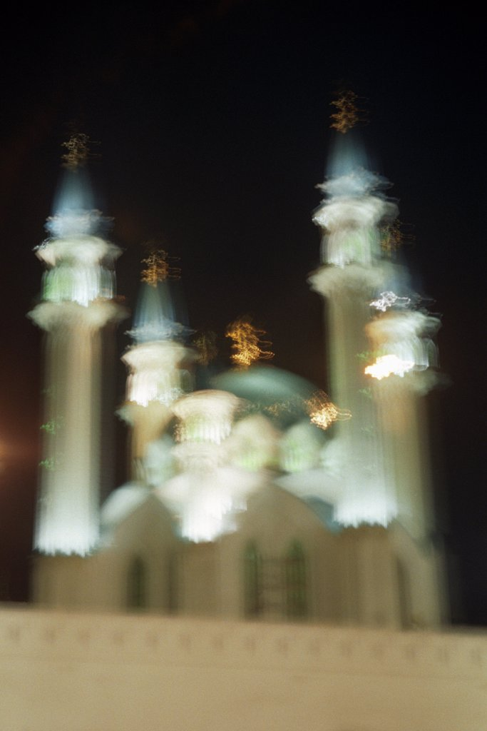 Defocused shot of Qolsharif Mosque against cloudy sky in Kazan Kremlin, Russia : Stock Photo