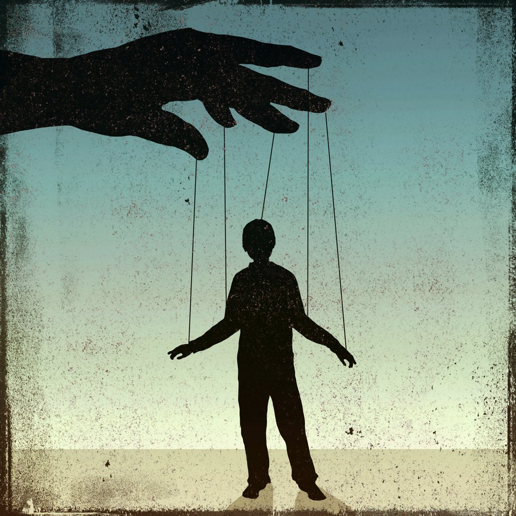 Stock Photo: 1570R-142200 A silhouetted man being controlled by a puppeteer