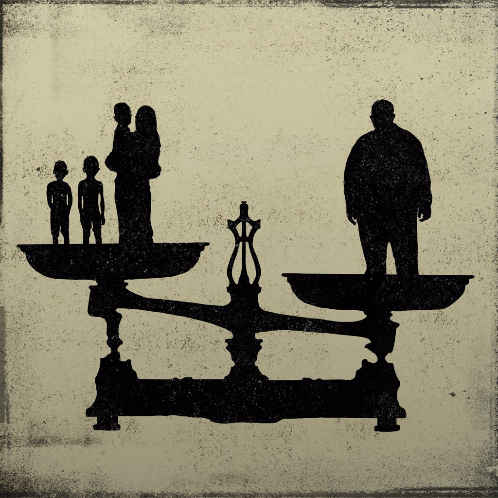 Stock Photo: 1570R-142329 Silhouette of a big man on one end of a scale and a women and kids on the other