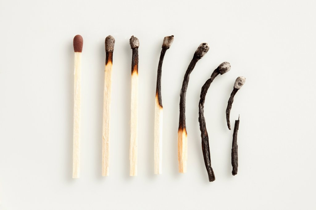 A gradual decline of matches : Stock Photo