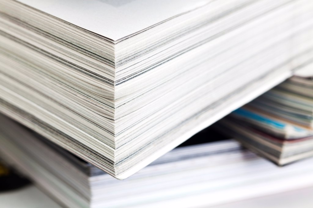 A stack of various magazines, full frame : Stock Photo