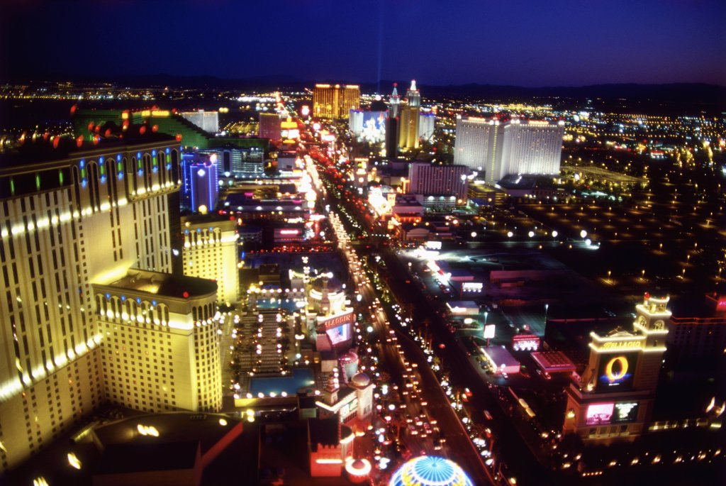 Stock Photo: 1570R-50011 Las Vegas, Nevada, USA, the Las Vegas strip at night