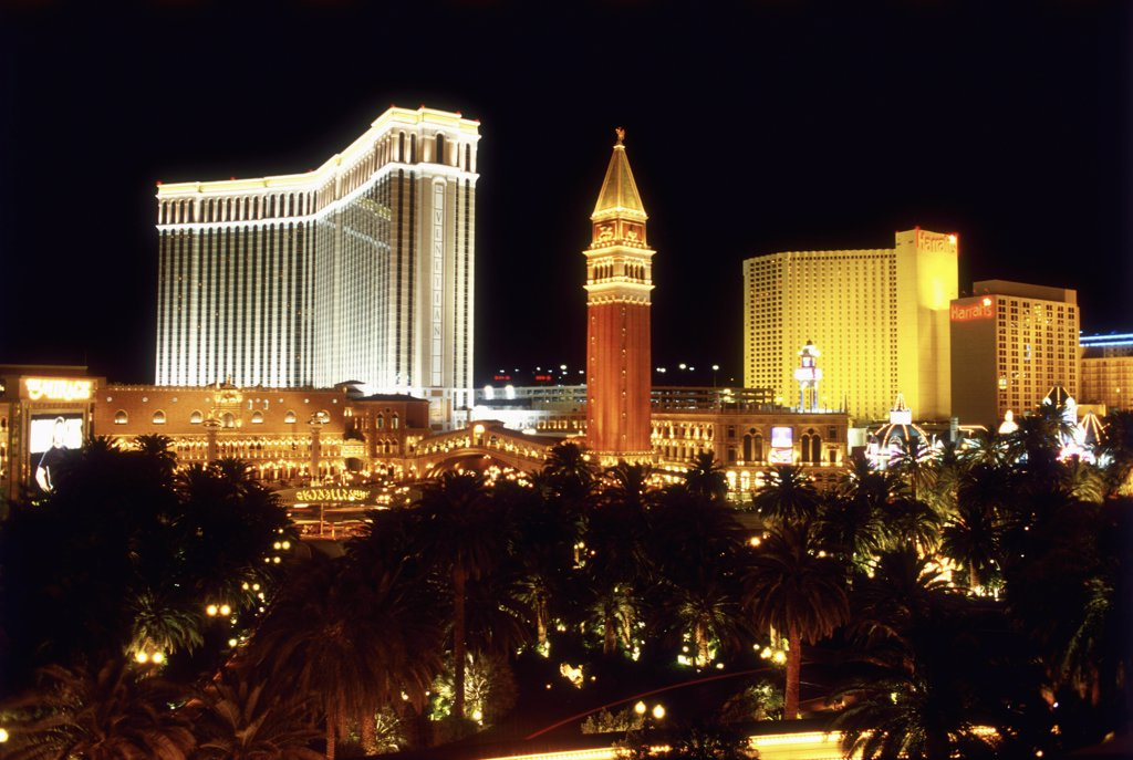 Stock Photo: 1570R-50013 Las Vegas, Nevada, USA, Las Vegas casinos at night