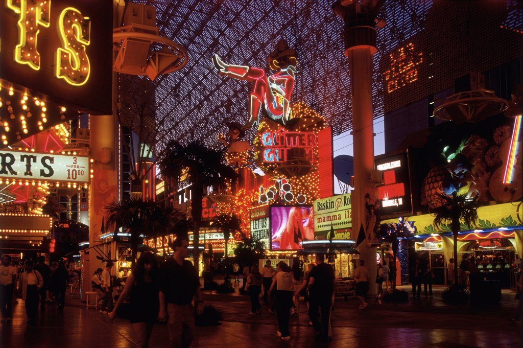 Stock Photo: 1570R-50014 Las Vegas, Nevada, USA, Las Vegas walkway at night
