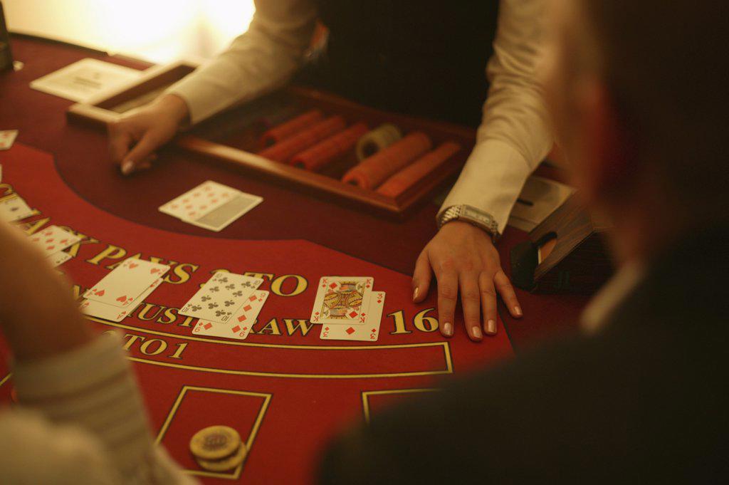 Detail of people playing blackjack : Stock Photo