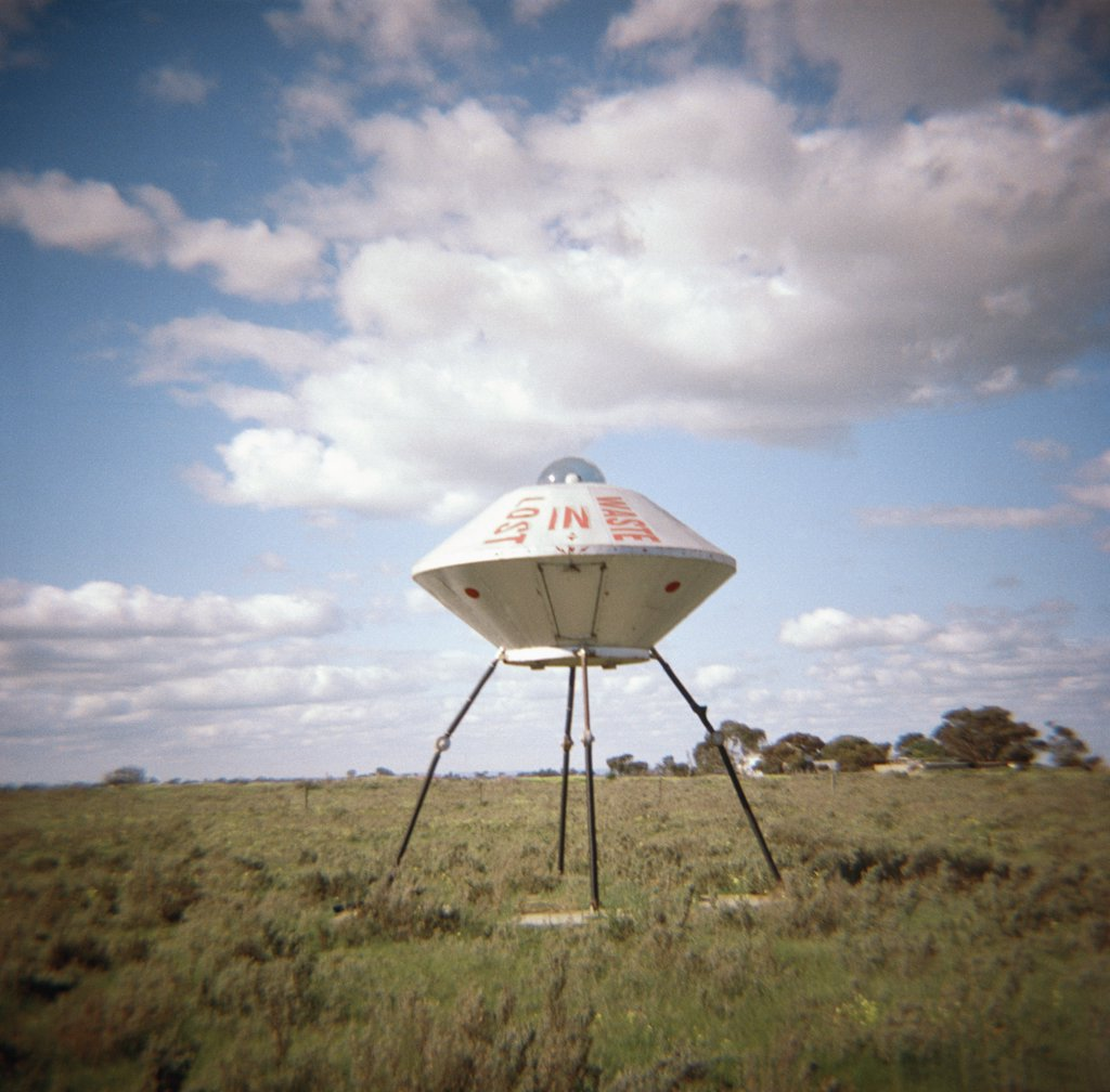 Stock Photo: 1570R-80037 A sculpture of a UFO, Australia