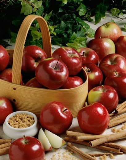 Stock Photo: 1574R-010807 Apples and cinnamon sticks