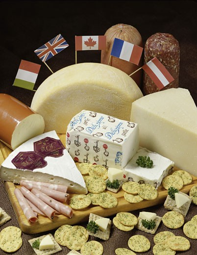 Stock Photo: 1574R-010808 Cheese with crackers and meats