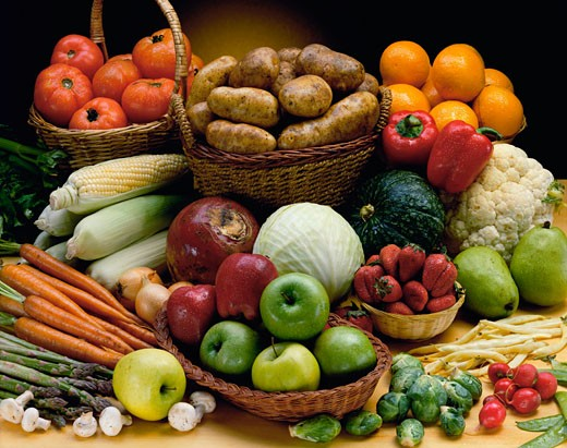 Stock Photo: 1574R-010864 Close-up of various fruits and vegetables