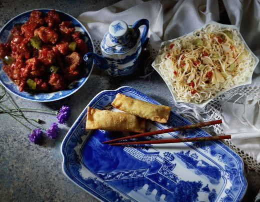 Variety of Chinese dishes : Stock Photo