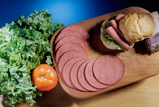 Salami sandwich : Stock Photo