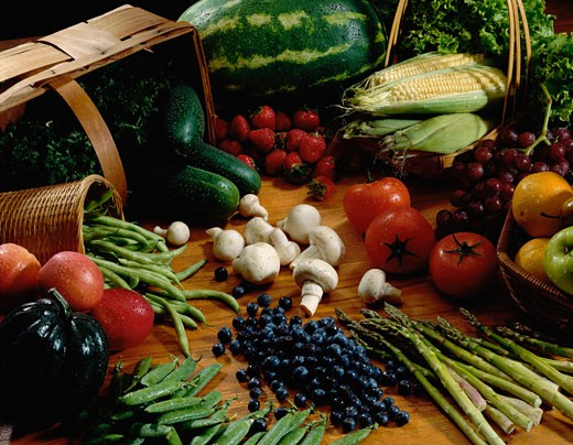 Close-up of various fruits and vegetables : Stock Photo