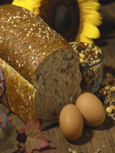 Stock Photo: 1574R-011000 Close-up of eggs and brown bread