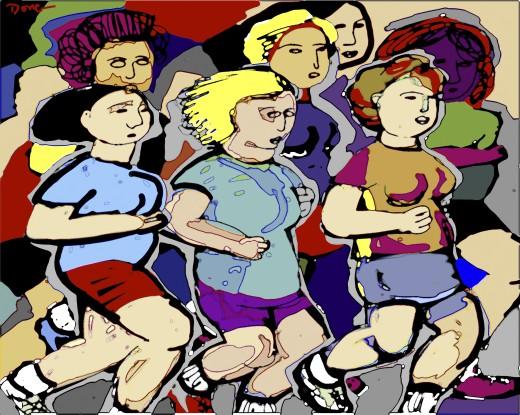 Marathon Runners 2003 Diana Ong (b.1940 Chinese-American) Computer graphics  : Stock Photo