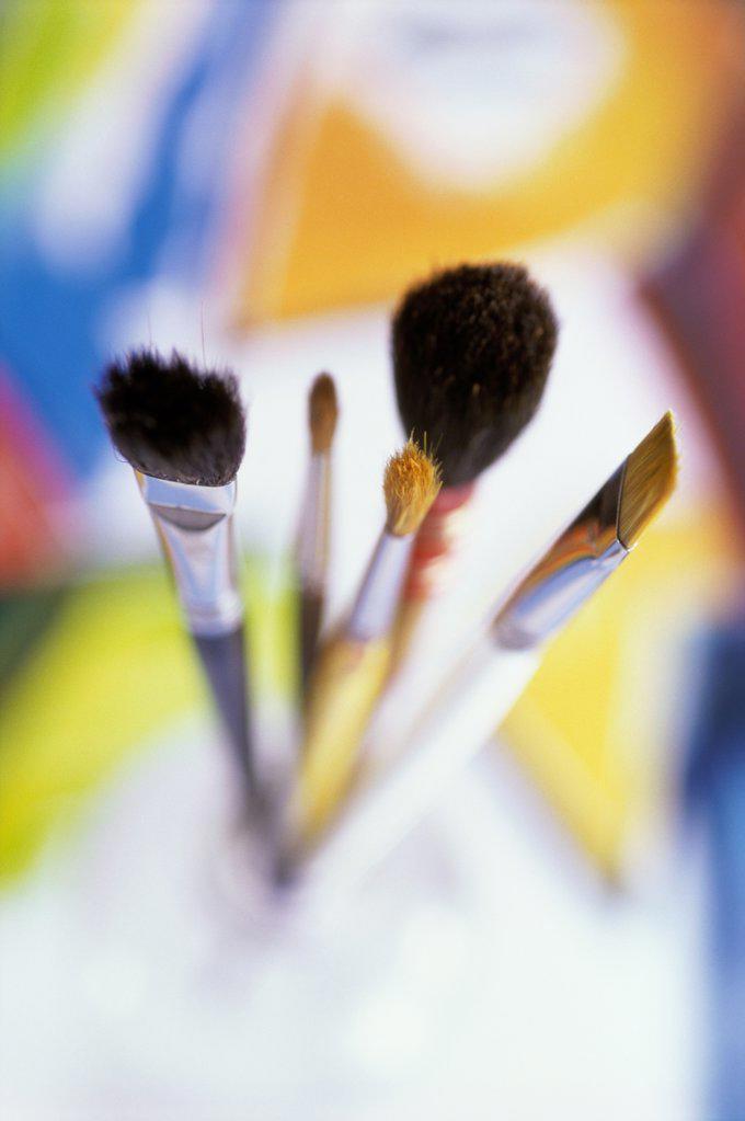Stock Photo: 1574R-012301B Close-up of paintbrushes