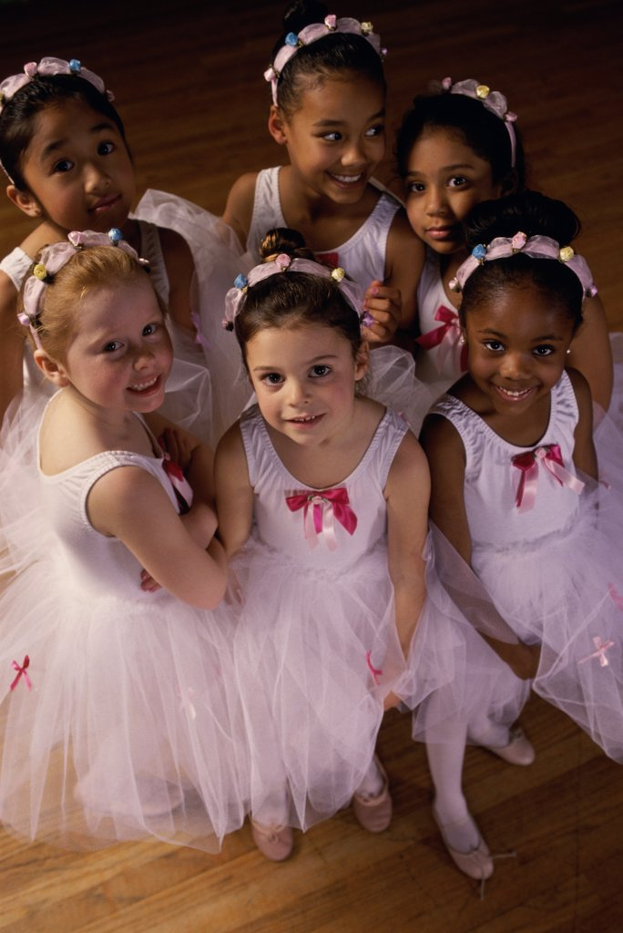 High angle view of a group of ballet dancers smiling : Stock Photo