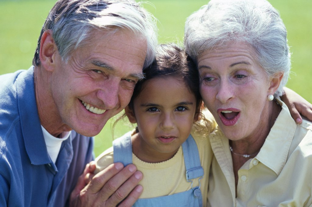 Stock Photo: 1574R-014003 Portrait of a granddaughter with her grandparents