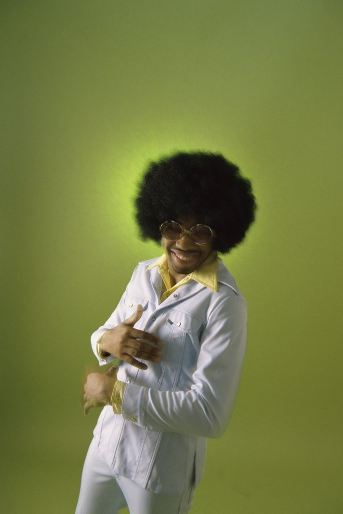 Stock Photo: 1574R-014356B Young man with an afro hairstyle