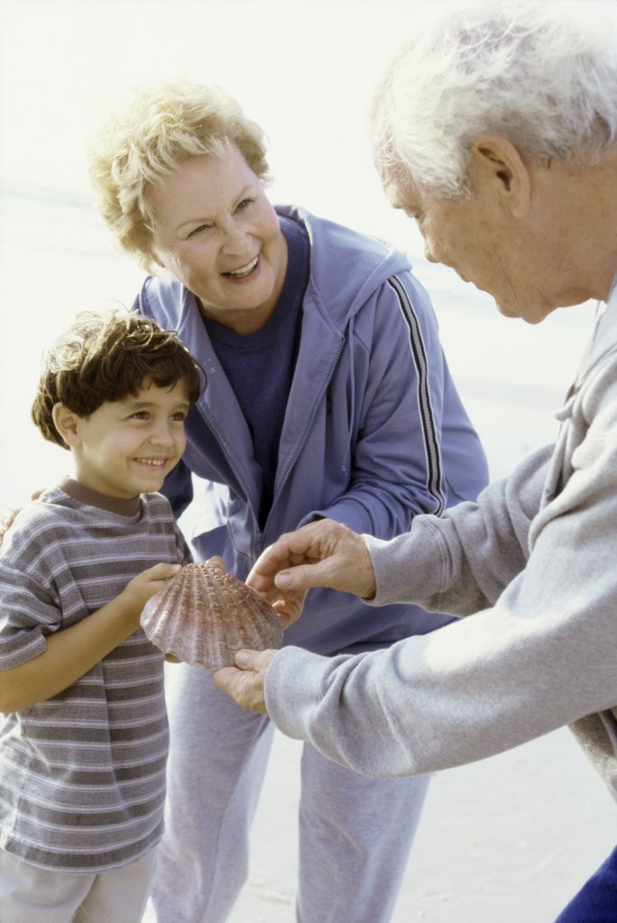 Boy holding a seashell on the beach with his grandparents : Stock Photo