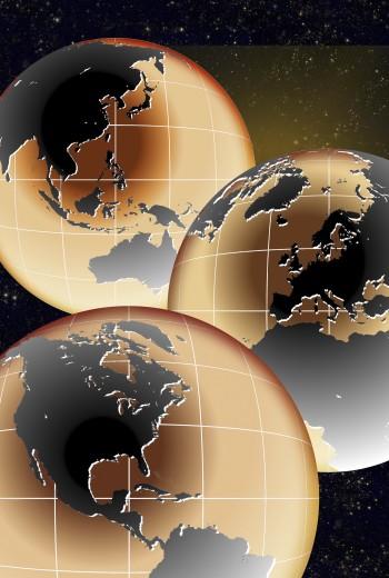 Stock Photo: 1574R-015672B Illustration of three globes