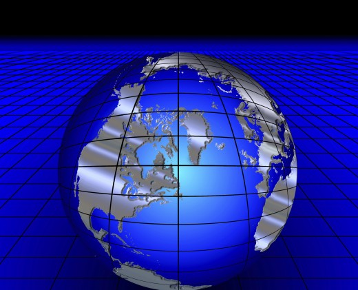 Illustration of a globe on a grid : Stock Photo