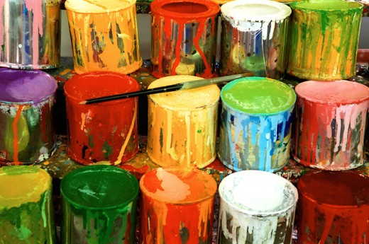 Close-up of large group of paint cans : Stock Photo
