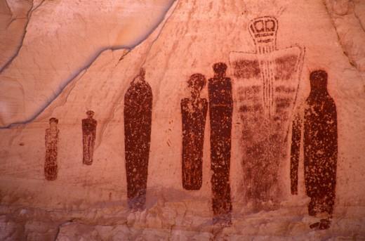 Stock Photo: 1574R-016554 Pictographs Canyonlands National Park Utah, USA