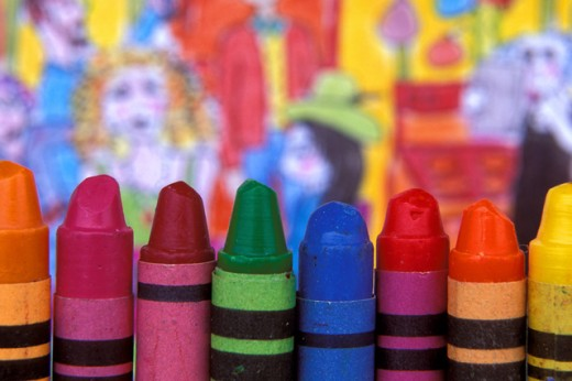 Stock Photo: 1574R-016601 Close-up of a group of crayons
