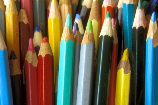 Stock Photo: 1574R-016676 Close-up of a large group of colored pencils