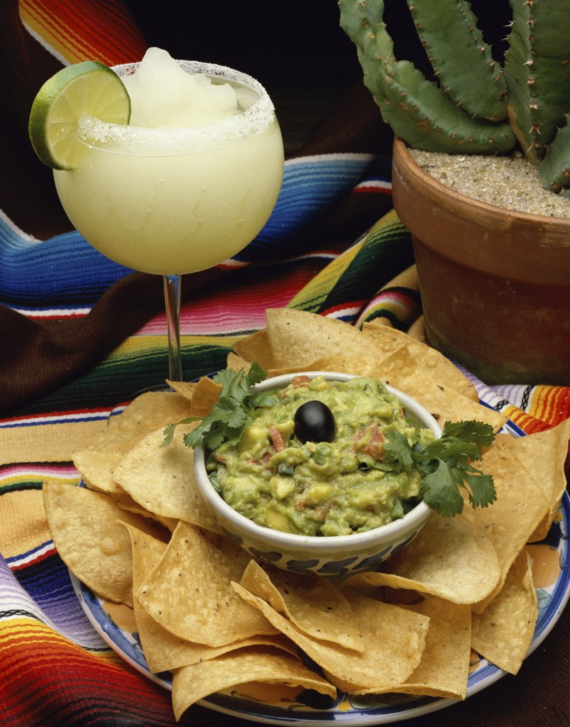 Stock Photo: 1574R-017961A High angle view of guacamole with tortilla chips
